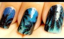 Night Scene on the Beach Nail Stickers Application Tutorial