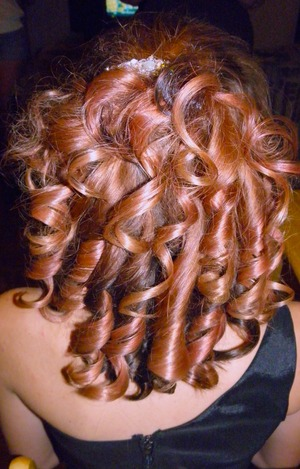 Tight ringlets using traditional curling iron and curls set with Samy Hairspray