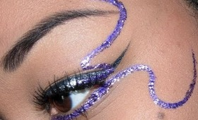 Sephora Holiday Look #6 - Silver winged liner with Purple glitter liner