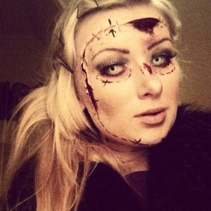 Halloween makeup I did on my sister