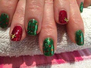 Xmas nail art, red gold and green. Gel nail polish Red Carpet Manicure