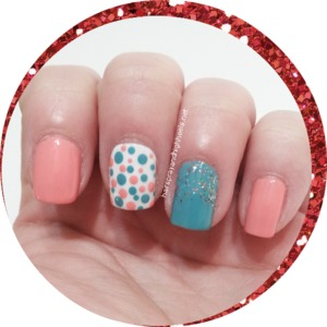 Full description & colors used up on the blog http://www.hairsprayandhighheels.net/2013/03/coral-teal-polka-dot-manicure-mani.html