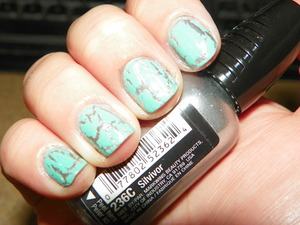 Wet N Wild's 'Silvivor' Two Coats w/ China Glaze's 'Crushed Candy'2