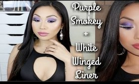 Purple Smokey Eye + White Winged Eyeliner Tutorial