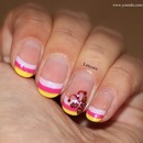 Colorful French Tip with Butterfly