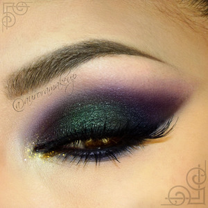 instagram @auroramakeup FB: https://www.facebook.com/AuroraAmorPorElMaquillaje  Details   Brows have DIP BROW POMADE in EBONY and DARK BROWN by @anastasiabeverlyhills  Lifted Neutral Eye Primer with Firmitol by @tartecosmetics  Bone mate eyeshadow to highlight brow bone, pink mate eye shadow as transition color on the crease and purple mate eye shadow to blend the ourter corner of the crease after the blue one. These eyeshadows are into NEUTRAL EYES palette by @tartecosmetics   Jumbo Eye Pencil 615 SLATE as base on mobile eyelid and waterline pulling it out below lower lashes , eye shadow  EXOTIC GREEN on mobile eyelid , eye shadow in DARK NAVY on outer mobile eyelid and blended below lower lashes. All these products are  @nyxcosmetics.   Gel eyeliner in BLACK by @micabeauty @micabella on top lashes.   Lashes are BE BRAVE by @townoflashes  In the inner corner I used Paint Pot Mineral Eye Shadow in SHE SPARKLES and  Glitter Pot in POT OF GOLD , both by @motivescosmetics.  Lala mineral Volumizing & Lengthening mascara in BLACK on top and lower lashes.