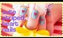 Cute Heart Striped Nails