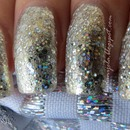 Silver holographic manicure