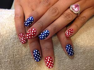 natural manicure with gel color and paint designs.