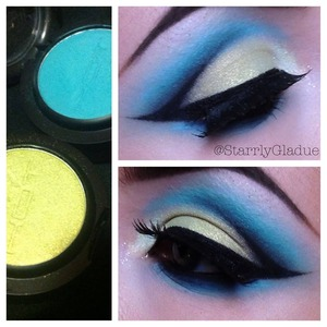 Products used: Hot Makeup 'show stopper green' (lid), 'china blue' (crease), 'snow queen' glitter (inner corner) and S55 lashes. With ACT5 Cosmetics black hybrid gel liner (top) and Urban Decay 'perversion' 24/7 eye pencil (waterline)  Facebook: Makeup by Starrly Instagram & Twitter: @StarrlyGladue