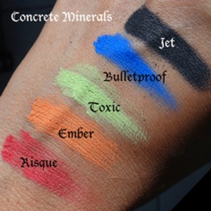 Concrete Minerals Pro Matte swatch on medium tan / olive skin.  Products available at http://www.OrlandoAirbrushMakeup.com, serving the Orlando and Miami markets.