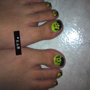 Frankenstein toes for Halloween.
