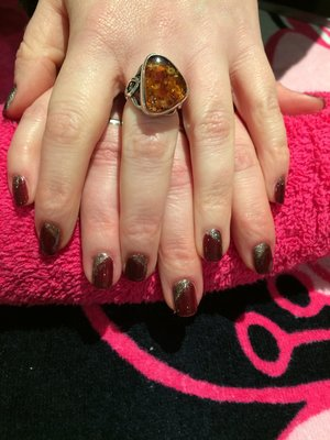 Gel nail polish, Deep Red with Gold Glitter
