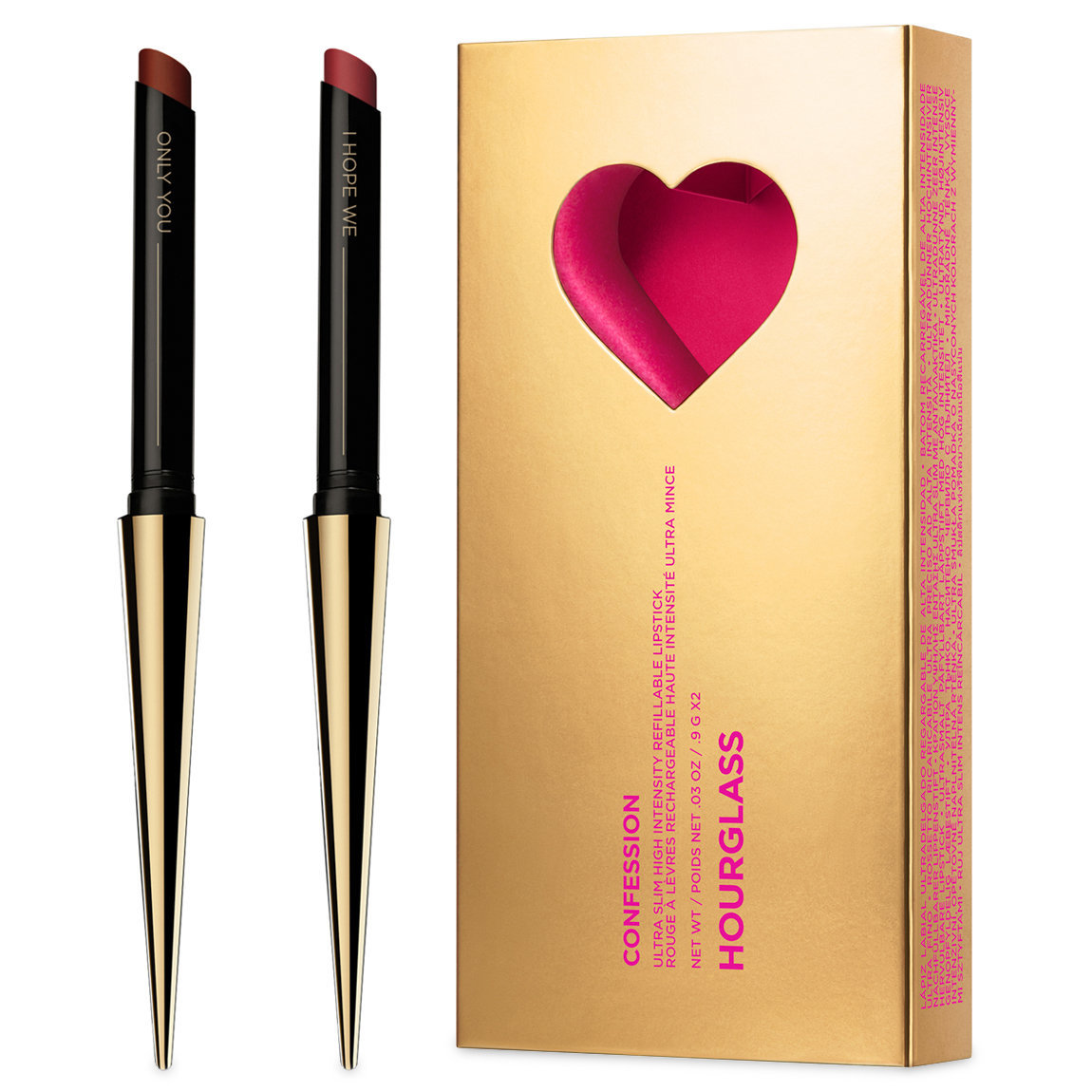 Hourglass Confession Ultra Slim High Intensity Refillable Lipstick Valentine's Day Set Only You / I Hope We product swatch.