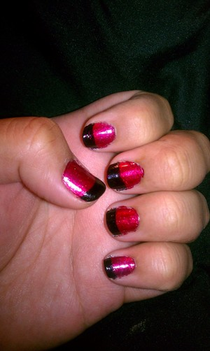 paint entire nail red then once dried paint nail tip black