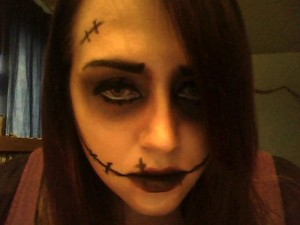 This is my 2012 Halloween makeup! I'm not super proud of it but it did take me a while to do (perfectionist alert!) and things kept smudging. Doesn't help I have sweaty, trembly hands. Wish I coulda found a better way to do the stitches. They look so plain :/ What do you think?