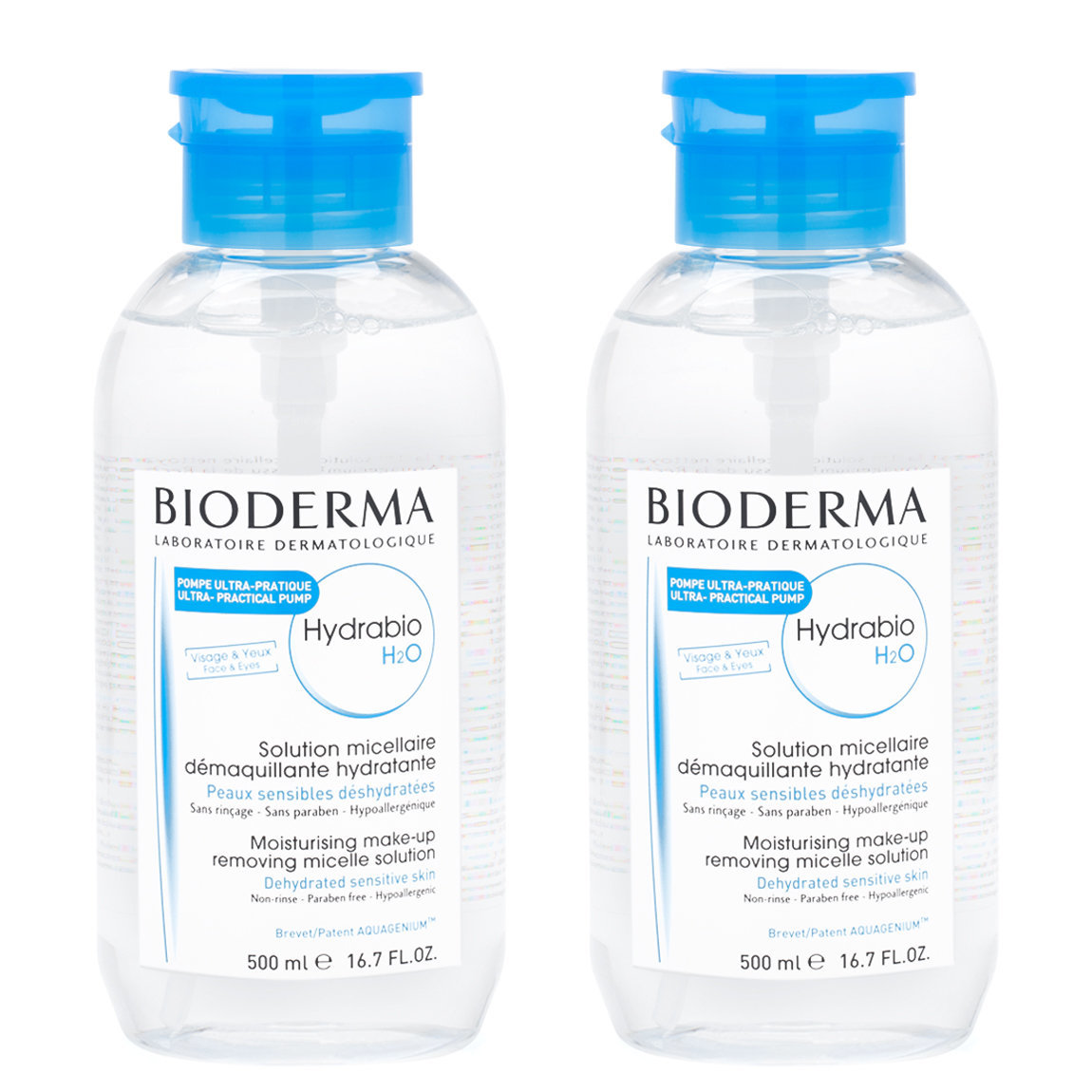 Bioderma Hydrabio H2O Pump 500 ml Duo product smear.