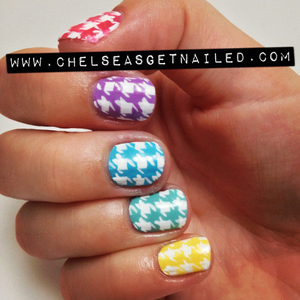 Houndstooth print is my newest obsession! And even though its fall, I still refuse to give up my bright and fun colors. This design is 100% handpainted, no stamps!  What I Used (top to bottom): -Essie Guilty Pleasures  -Essie Play Date  -Orly Frisky  -China Glaze For Audrey  -Orly Spark  -Seche Vite top coat