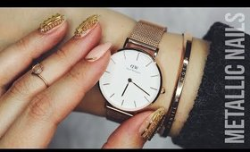 Metallic Nails Inspired By Daniel Wellington Watch ♡