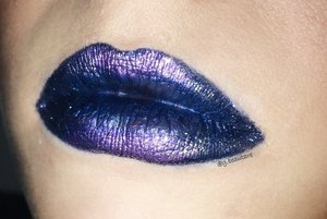MAC Cosmetics Pearlglide Intense Eye Liner in Petrol Blue; Frost Lipstick in Designed Blue; Violet Pigment and Silver glitter.