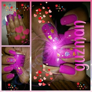 Hot Pink from Nina and topped of with nail heart foils.