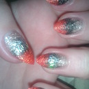 Black, red, gold and silver flakes