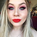 Sparkly Red and Electric Pink Birthday Makeup