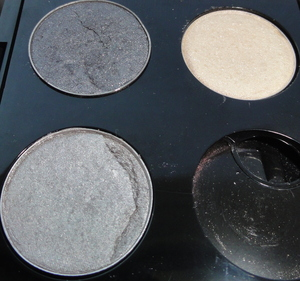 Smoky Silver Makeup of the Day Eye Shadows from Left to Right and Top to Bottom- Urban Decay- Gunmetal, MAC- Shroom MAC- Electra