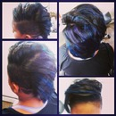 Blue and Purple hilites, on a mohawk luv cut!! follow me @mzhairpoetry instagram/twitter