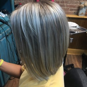 Highlights with angered bob cut.