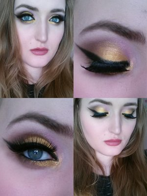 """Using my favourite gold eyeshadow from L.A Colors' trio palette of baked eyeshadows, its name is """"Titan"""".    For the lips: L.A Colors lipliner in the shade """"Natural"""" blended out with NYX Matte Lipstick Natural"""