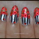 Hand Painted Flower Nail Art