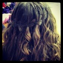 Water fall braid with wavey hair!
