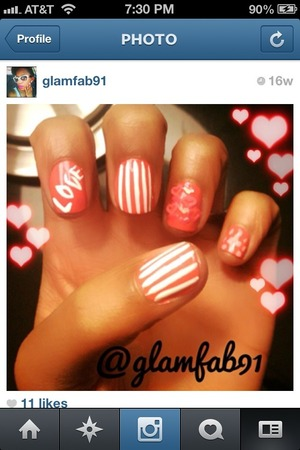 Love inspired DIY nail art with a few stripes and nail decal hearts