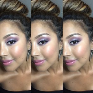 Here used mac cosmetic shadows and a couple of purple shadows from coastal scents creating this smokey purple look i have mac eyelashes in #4 nars bronzer and mac pink lipstic. My hair is in a messy bun =) enjoy