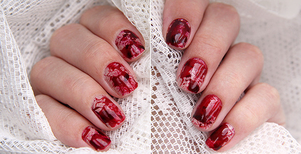 Halloween nail art beautylish halloween nail art blood splattered prinsesfo Choice Image