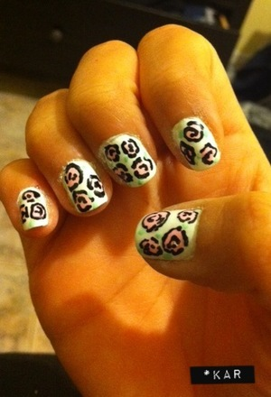 White nails with pink roses.