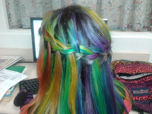 First time doing my own rainbow hair. My roots were growing out so ignore that and the messy waterfall since my friend was practicing how to do it. i still like it :)