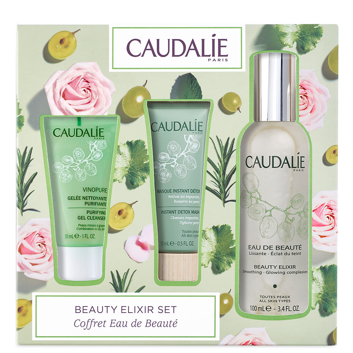 Caudalie Beauty Elixir Glow Perfecting Set product swatch.