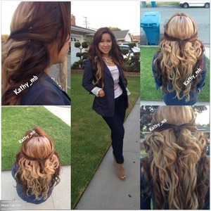 Half and half hair color , chocolate brown , And blond