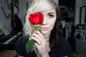 """a dark cat eye with a light lip.  My fiance sent me roses for our 2 year anniversary because he couldn't be here with me. """"24 roses for 24 months"""" his note said. :}  And that inspired me to take some new photos. hope ya like it. <3"""
