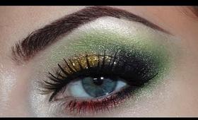 Christmas makeup (green, golden, red)