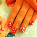 Minnie Mouse shellac nails