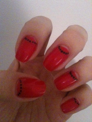 Chinese New Year nails simple bright red with black detailing