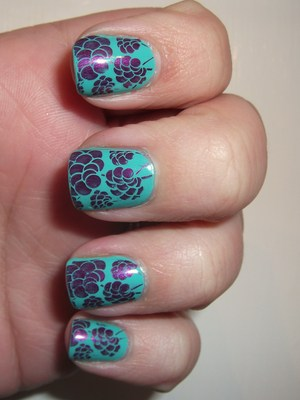 Aqua and purple flower nails. What kind of flowers are these?