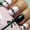 pink, black,bow manicure