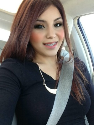 This is my best friend.  I love her copper reddish hair and makeup,  great Fall look I think.