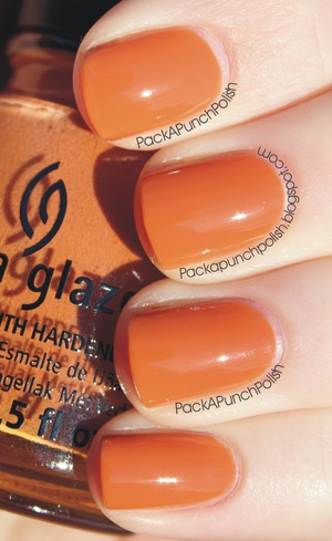 China Glaze Desert Sun is a gorgeous butterscotch orange. It's part of the On Safari Collection  2 coats no top coat.  Full Blog Post: http://packapunchpolish.blogspot.com/2012/11/china-glaze-desert-sun.html