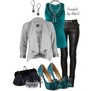 Edgy love the feathers on the front of the heels along with the leather pants this is a great going out outfit