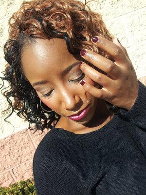 Fall Inspired Makeup Look -2014. neutral eyes...semi vampy lips. Long spirals and cranberry nails.Follow My Beautiful Makeup Journey @dapaintedcanvas...?
